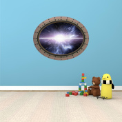 60cm Porthole Instant Outer Space Ship Window View WARP LIGHT SPEED #3 OVAL RIVETS Wall Graphic Sticker Decal Baby Room Home Den Mural Man Cave Art Décor MEDIUM