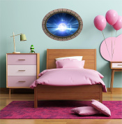 90cm Porthole Outer Space Ship Window View WARP LIGHT SPEED #1 OVAL RIVETS Wall Sticker Kids Decal Baby Room Home Art Décor Den Mural Man Cave Graphic LARGE