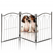 Kleeger KLG-125 Metal Pet Gate, Foldable & Freestanding, For Indoor Home & Office Use. Keeps Pets Safe [Arch Decorative Design]. Easy Set Up, No Tools Required. …