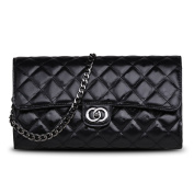 Ainifeel Women's Genuine Leather Quilted Clutch Bag Purse With Chain Strap
