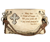 Fashion Conceal Carry Peace Purse Beige with Cross and Verse