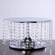 BalsaCircle 19cm tall Crystal Pendants Metal Cake Stand - Silver