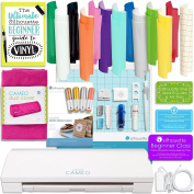 Silhouette Cameo 3 Bundle with Oracal 651, Dust Cover, Etching Tool, Sketch Pens, Pen Holder, -Class, Guide, and More