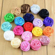 29 pcs Satin Rolled Ribbon Rose Flowers Fabric Rosettes Diy Hair Accessories