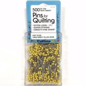 500 Pk. Pins For Quilting By Collins 2.5cm - 1.9cm Long, Yellow Ball Head Finest Pins
