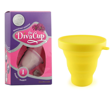 Diva Cup Model 1 Pre-Childbirth Menstrual Cup plus Dandelion Cup Sanitation Container - Yellow
