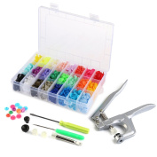 OUNONA 360pcs T5 Snap Button Plastic with Snaps Pliers and Organiser Storage Containers