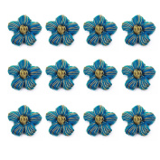 Decorative Blue Appliques Floral Shape Patch Appliques Craft Sewing 1 Dozen