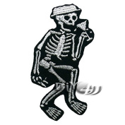 Skull Skeleton Embroidered Sew or Iron On Patch Applique