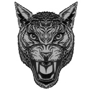 LARGE PUMA HEAD COUGAR TATTOO STYLE DESIGN REFLECTIVE EMBROIDERED JACKET IRON-ON PATCH 30cm H XL