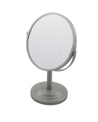 Bathroom Vanity Double Sided Freestanding Pedestal Makeup and Shaving Mirror Regular View and 3X Magnification