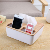 Restbuy Oak Cap Tissue Box Cover Toilet Paper Holder Dispenser for Your Home, Bathroom and Office