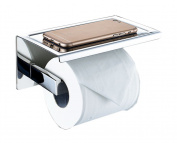 Vivian Stainless Steel Toilet Paper Holder Wall Mount Self Adhesive Bathroom Tissue Holder With Mobile Phone Storage Shelf