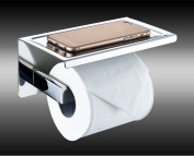 Fashionclubs Stainless Steel 3M Adhesive Wall Mount Bathroom Tissue Paper Organiser Holder with Mobile Phone Holder Shelf