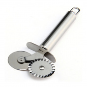 Ieasycan Stainless Steel Double Roller Pizza Knife Cutter Pastry Pasta Dough Crimper Round Hob Lace Wheel Kitchen Tools