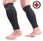 Doctor Developed Copper Infused Calf Compression Sleeve / Shin Support — GUARANTEED Relief from Calf cramps, Shin splints, Varicose veins, Calf injury -FREE Doctor Written Handbook included