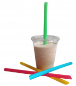 """50 Count Plastic Clear Cups with Flat Lids and Straws! Summer Party Cups With 9"""" Jumbo Straws! Disposable Recyclable PET Plastic"""
