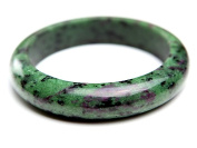 Inner Diameter 61mm Genuine Natural Ruby Zoisite Gemstone Round Woman Crystal Bangle
