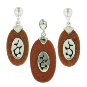 .925 Sterling Silver Gold Stone Earrings and Pendant 46cm Necklace