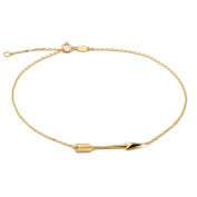 """10K Yellow Gold .50mm Diamond Cut Rolo Chain with Arrow Charm Anklet Adjustable 9"""" to 10"""""""