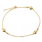 """10K Yellow Gold .50mm Diamond Cut Rolo Chain with 3 Puff Heart Charms Anklet Adjustable 9"""" to 10"""""""