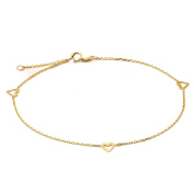 """10K Yellow Gold .50mm Diamond Cut Rolo Chain with 3 Heart Charms Anklet Adjustable 9"""" to 10"""""""
