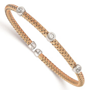 925 Sterling Silver Rose-tone Polished & Textured CZ Woven Cuff Bangle Bracelet by Leslie's