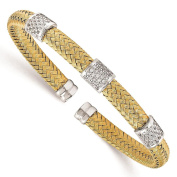 925 Sterling Silver Gold-tone Polished & Textured CZ Woven Cuff Bangle Bracelet by Leslie's