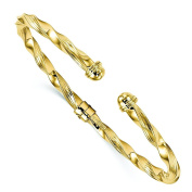 14k Yellow Gold Polished & Textured Hinge Cuff Bangle by Leslie's