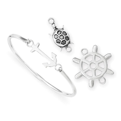 925 Sterling Silver Polished & Antiqued w/ Interchangeable Nautical Charms Bangle Bracelet
