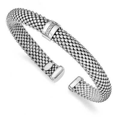 925 Sterling Silver Rhodium-plated Polished & Textured Mesh CZ Cuff Slip-on Bangle Bracelet