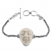 Goddess Bison Bone Byzantine Chain 925 Sterling Silver Bracelet, 17cm - 19cm
