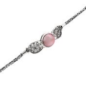 Pink Mabe Cultured Pearl Filigree 925 Sterling Silver Toggle Bracelet, 18cm - 19cm