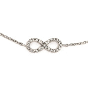 925 Sterling Silver Rhodium-plated Polished CZ Infinity Link Bracelet 18cm + 2.5cm Extender by Cheryl M