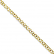 """10k Yellow Gold Polished 5.5mm Double Link Charm Bracelet 7"""""""