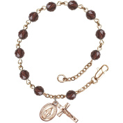 14 Karat Yellow Gold Rosary Bracelet 6mm Burgandy beads, Crucifix sz 5/8 x 1/4.