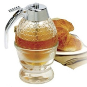 1 Cup Glass Bee Hive Honey Syrup Dispenser Pot Jar with Trigger Stand