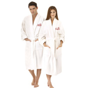 """KAUFMAN - """"KING"""" OR """"QUEEN"""" EMBROIDERED SHAWL COLLAR ROBE WHITE (Queen"""