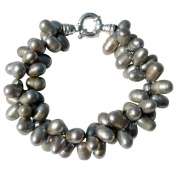 Pearls Paradise Women's Silver Grey 8-10mm Cultured Pearl Two Strand Chunky Bracelet With A Silver Clasp