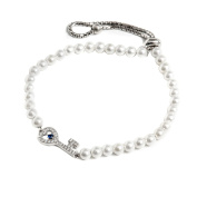 Peermont Jewellers sterling silver freshwater pearl and Cubic Zirconia key friendship bolo adjustable bracelet
