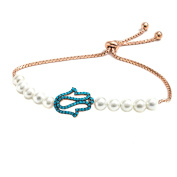 Peermont Jewellers 18k rose gold plated sterling silver freshwater pearl Cubic Zirconia turquoise hamsa friendship bolo adjustable bracelet