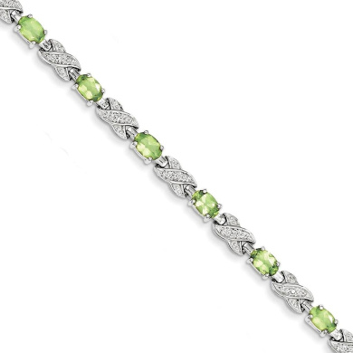 925 Sterling Silver Rhodium-plated Polished & Textured Peridot Tennis Bracelet 18cm