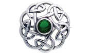 Jewellery Trends Sterling Silver Round Celtic Thistle Brooch Pin with Green Glass