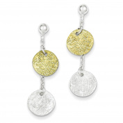 925 Sterling Silver & Gold-tone Polished & Textured Disc Dangle Earrings 11mm x 40mm