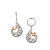 D'sire 18k Rose and White Gold Diamond (TDW 0.644 carats) Dangle Earrings