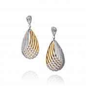 D'sire 18k Yellow and White Gold Diamond (TDW 2.219 carats) Dangle Earrings