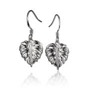 Sterling Silver Monstera Leaf Dangle Earrings