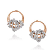D'sire 18k Rose and White Gold Diamond (TDW 0.635 carats) Hoop Earrings
