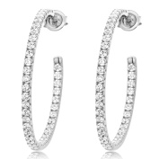 Sterling Silver Rhodium Plated 2mm Round CZ Inside-Out Pave Set Womens Hoop Earrings