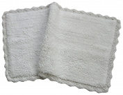 Chardin Home - 100% Pure Cotton - Crochet Bath Rug , 50cm x 90cm Mat with Latex spray non-skid backing, White